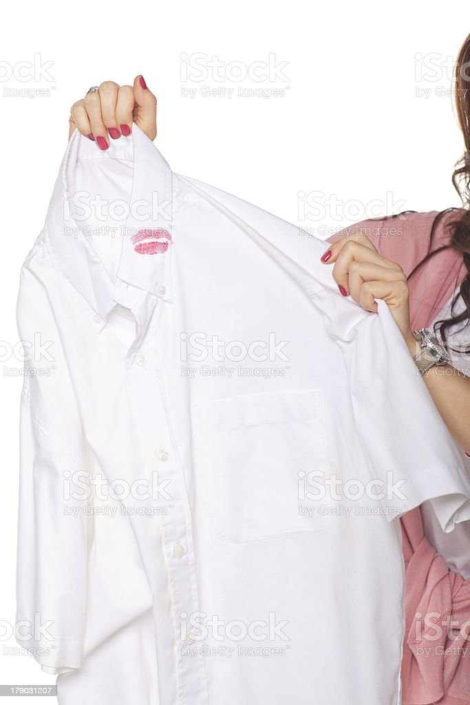 Woman Holding Shirt With Lipstick royalty-free stock photo