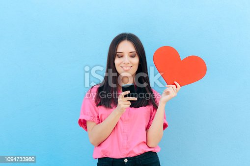 898149690 istock photo Woman Holding Smartphone Finding Internet Love Online 1094733980