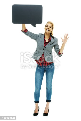 1128272390 istock photo Woman holding speech bubble and waving hand 469455828