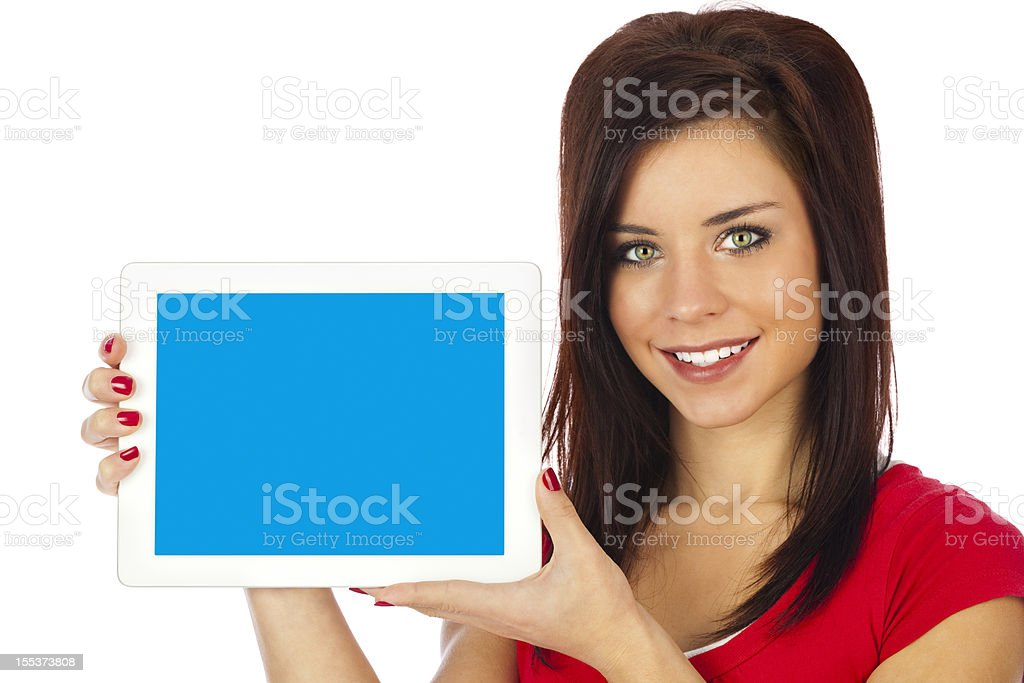 Woman Holding Tablet Computer, Blank Blue Screen royalty-free stock photo