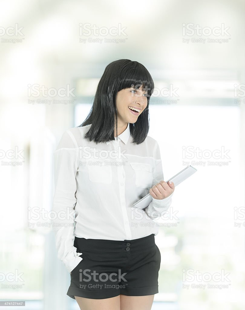 woman holding tablet royalty-free stock photo