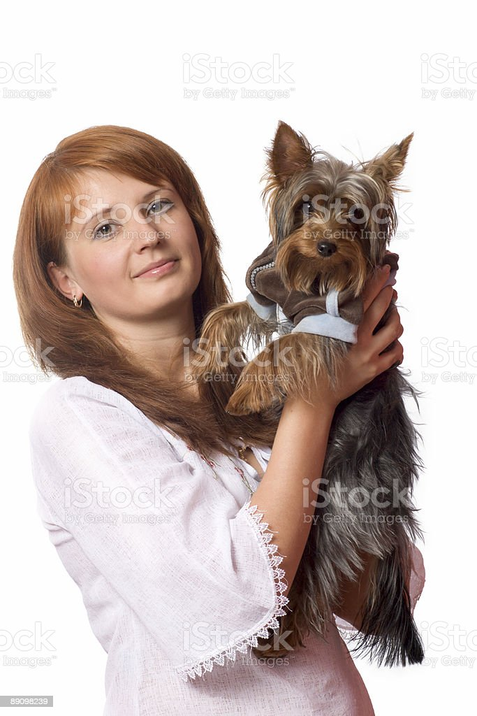 Woman holding terrier royalty free stockfoto