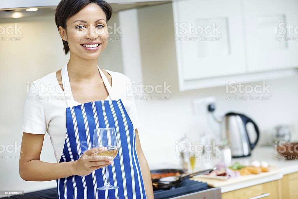 Woman holding wineglass stock photo