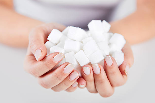 Woman holds in hands of sugar cubes stock photo