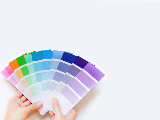 Woman holds rainbow color palette on white background. Designer tool with copy space. Top view, flat lay. stock photo