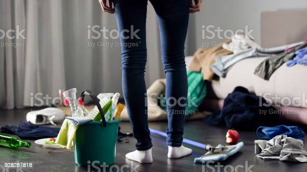 Woman horrified by mess left after party in her apartment cleaning picture id928287818?b=1&k=6&m=928287818&s=612x612&h=6wcwdiipd7vdgbrdbfnkssfiglr1qbprybyqbu0dyfk=