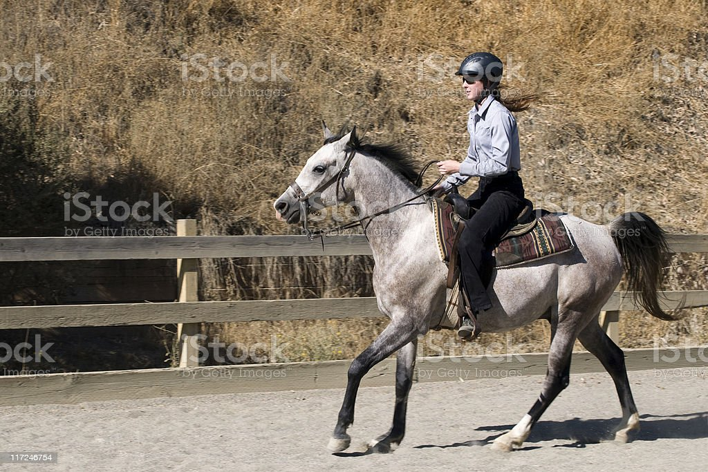 woman horseback riding in arena royalty-free stock photo