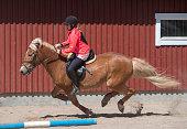 istock Woman horseback riding on ranch 1256467673