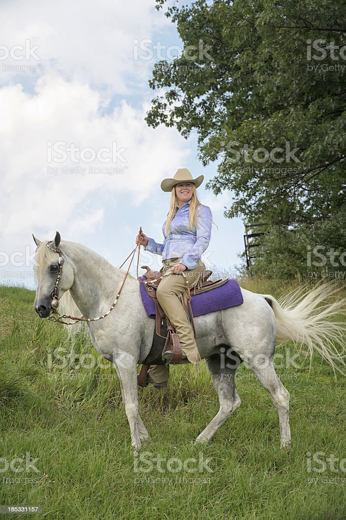 Woman Horseback Riding On White Horse American Western Cowgirl Stock Photo Download Image Now Istock