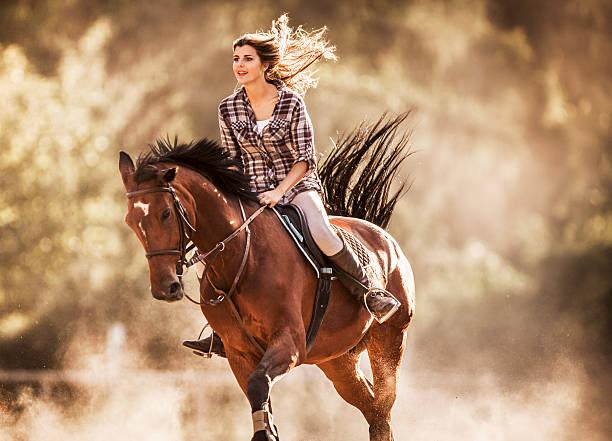 Ladies cruel horse riding