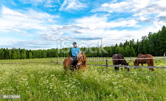 1128475475 istock photo Woman horseback riding 984106586