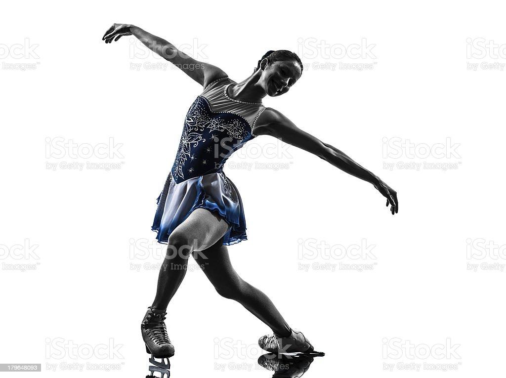 woman ice skater skating silhouette stock photo