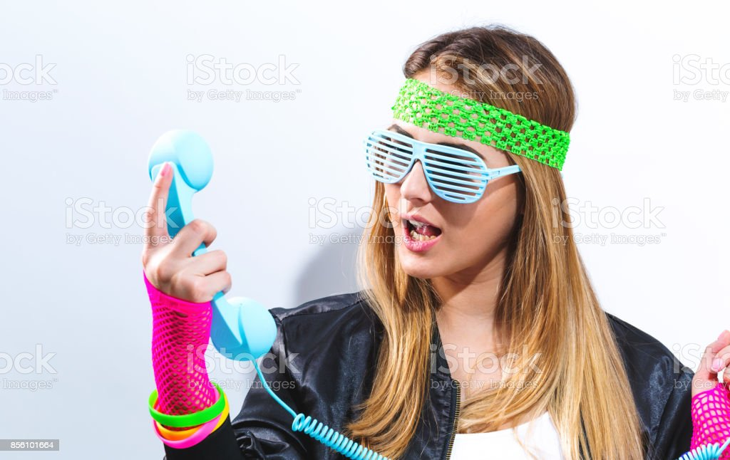 Woman in 1980's fashion stock photo