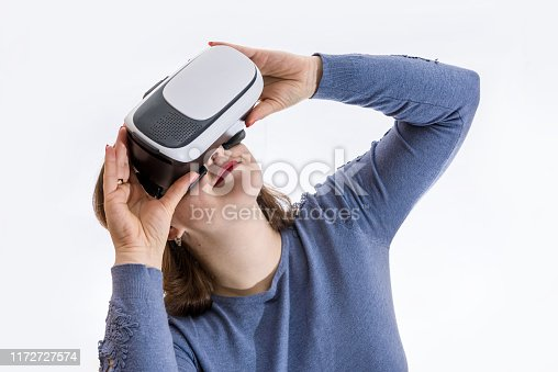 istock Woman in 3d virtual glasses close up 1172727574