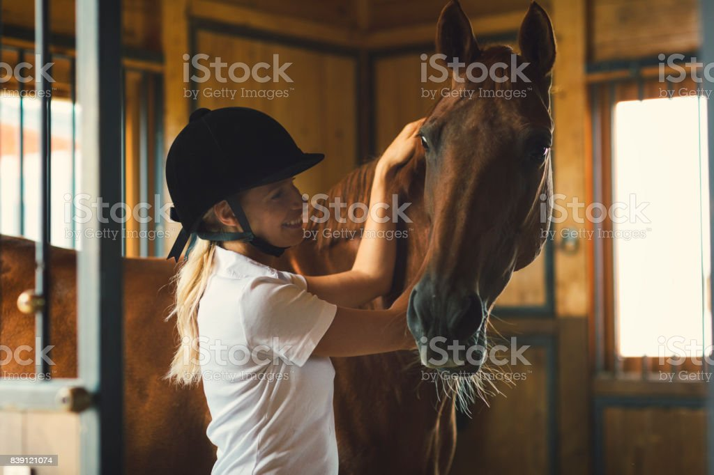 Woman in a barn stroking her horse stock photo