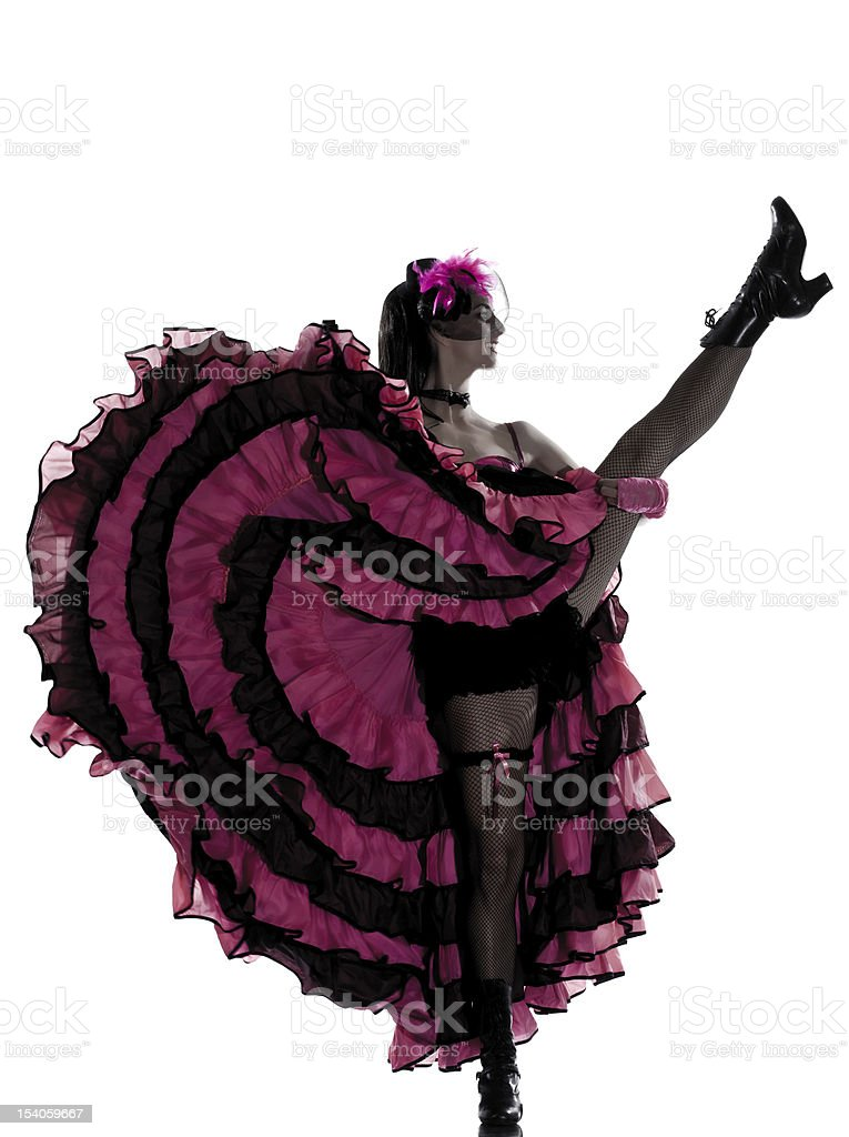 Woman in a black and pink dress dancing the cancan stock photo