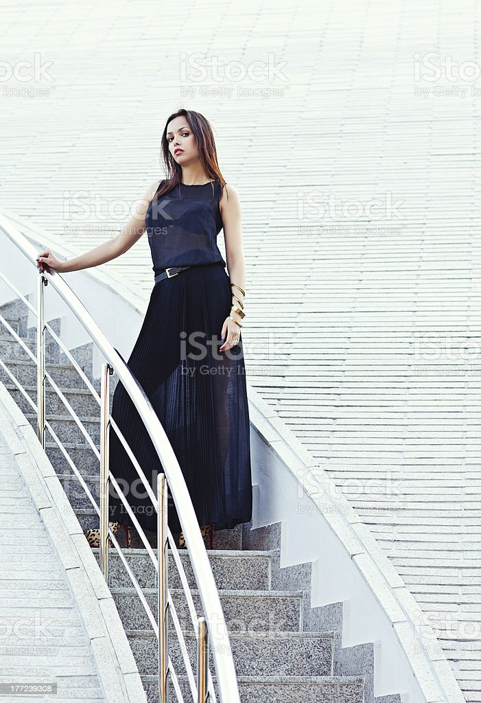woman in a black dress. stock photo