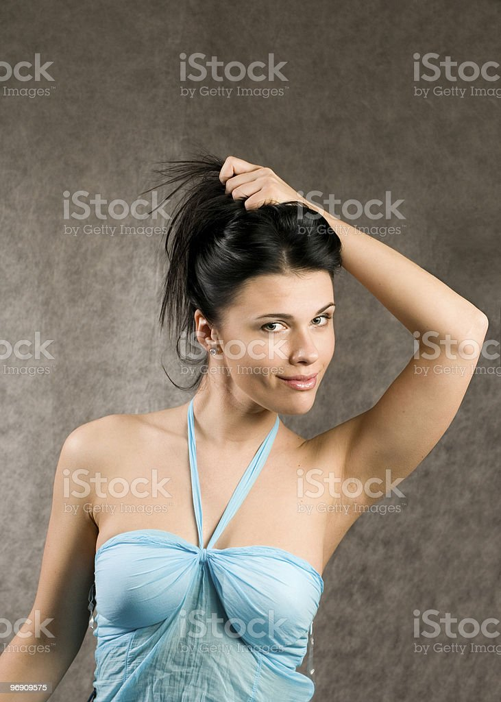 Woman in a blue dress royalty-free stock photo