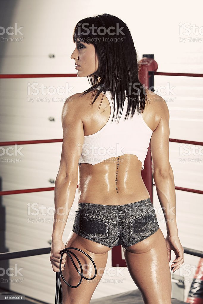 Woman in a Boxing Ring royalty-free stock photo