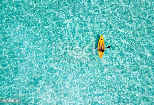 istock Woman in a canoe over turquoise, tropical waters 942660152