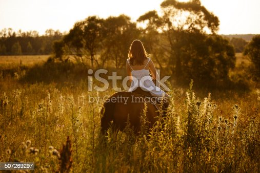 1128475475 istock photo Woman in a dress riding on an adult horse 507269297