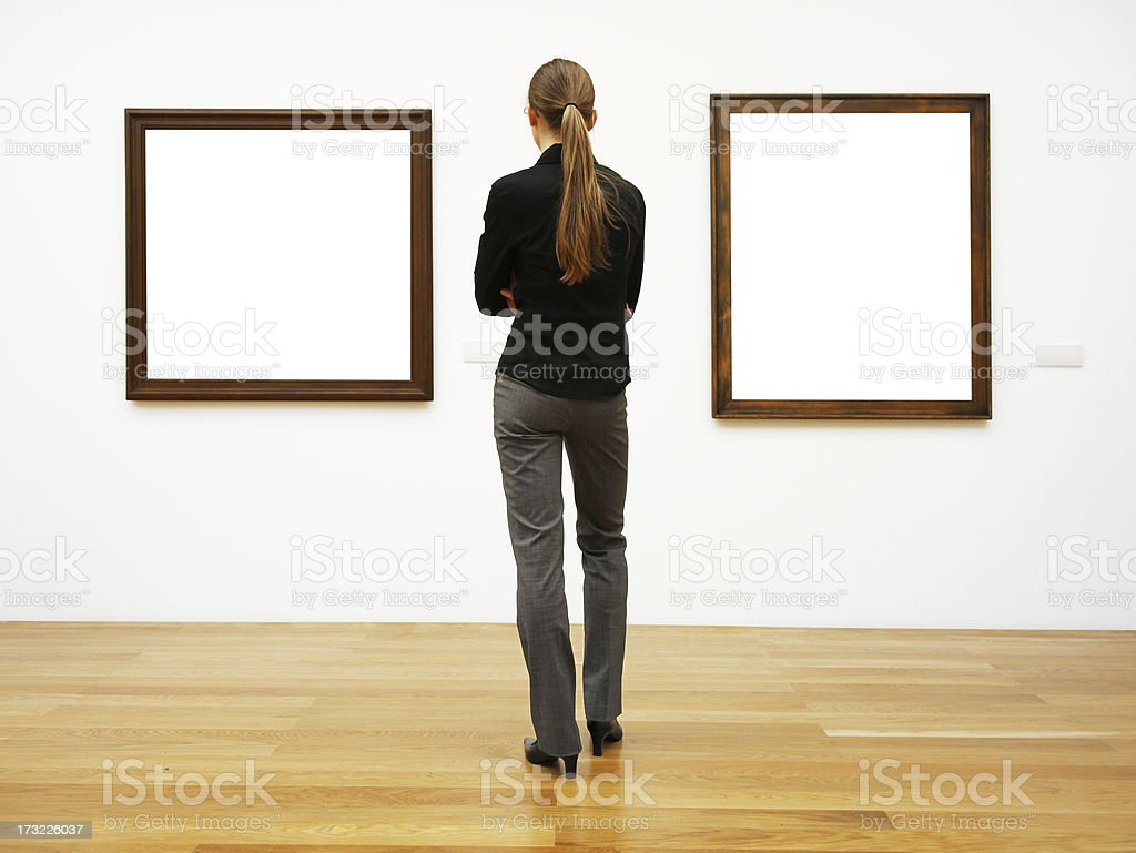 woman in a gallery (clipping path) stock photo