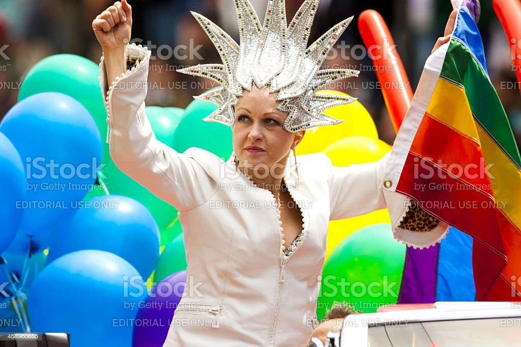 Woman in a Gay Pride Parade stock photo