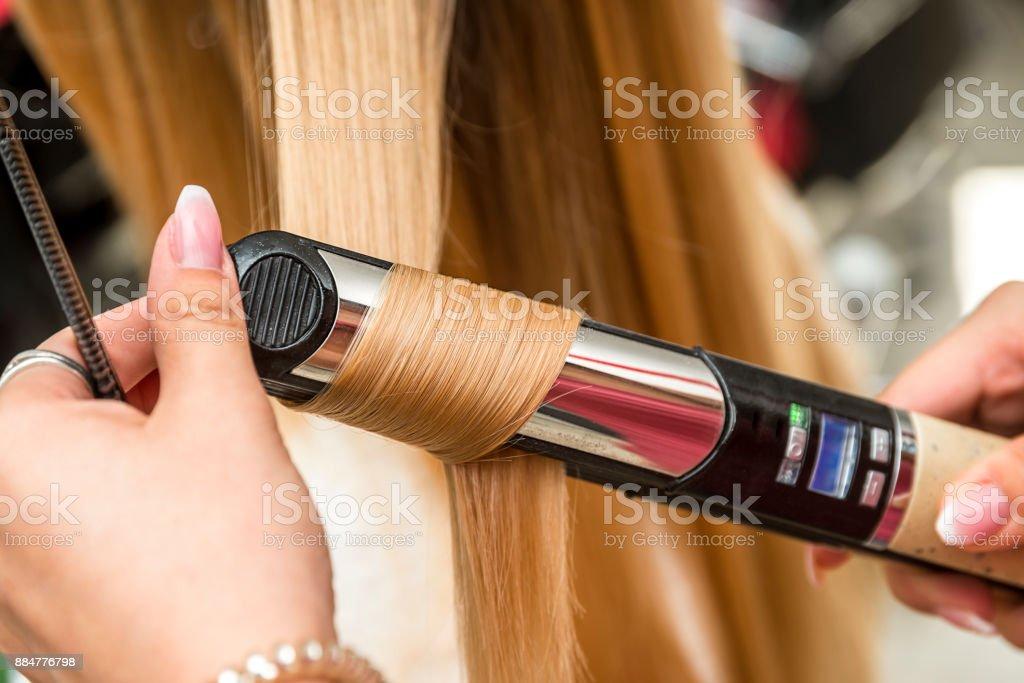 Woman in a hair salon. stock photo
