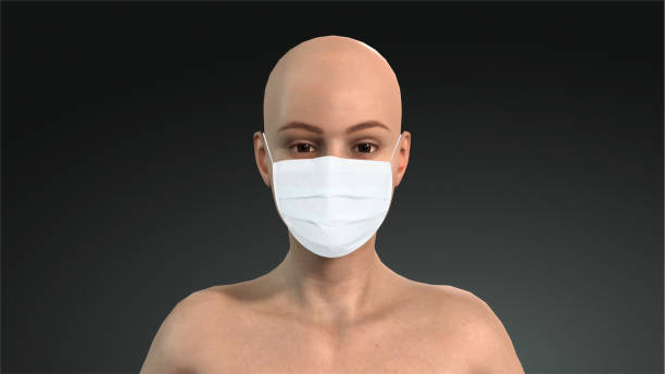 woman in a medical mask. mask to protect against corona virus. cancer patients and corona virus. 3d 3d graphics - ffp2 imagens e fotografias de stock