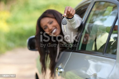 173607342 istock photo Woman in a new car outdoors. 180847457