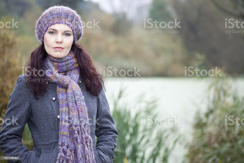 Woman in a park stock photo