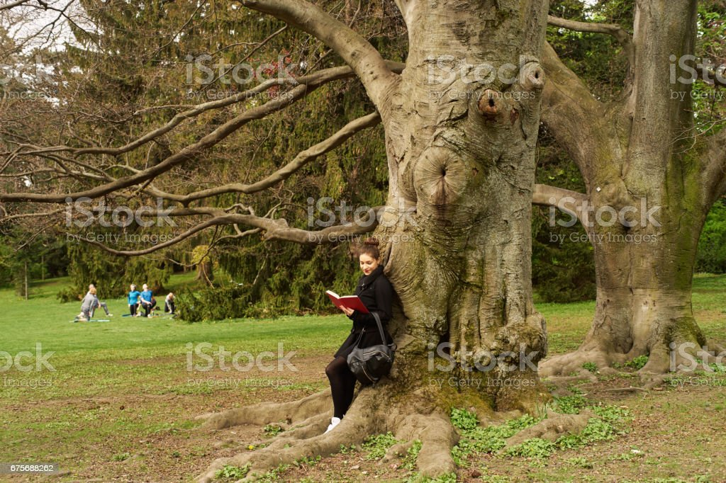 A woman in a park royalty-free stock photo
