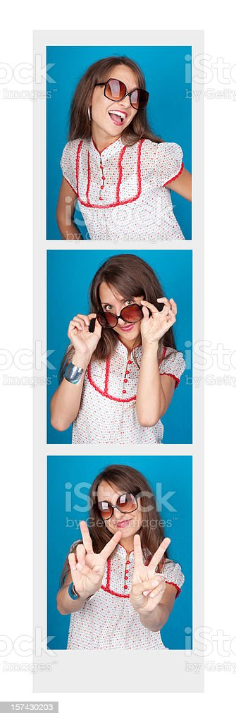 Woman In A Photo Booth stock photo