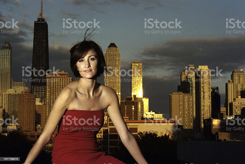 woman in a red dress royalty-free stock photo
