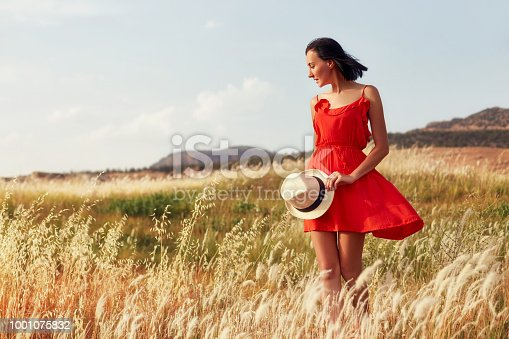 Woman in a red dress walking on the field on a warm summer evening. Yellow grass at sunset, the girl holding a hat in his hands. Freedom and endless fields, outdoor recreation, beautiful landscape