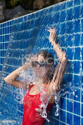 1155046257istockphoto woman in a red swimsuit in swimming pool 584606374