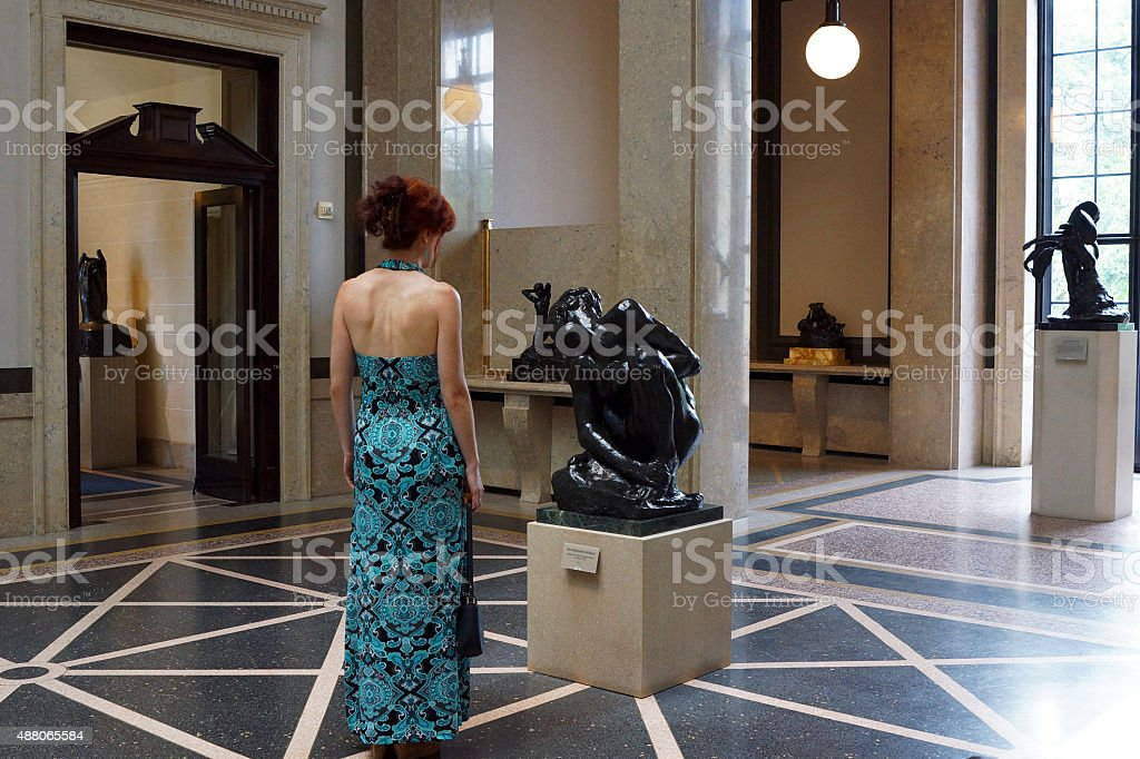 Woman in a Rodin Museum stock photo