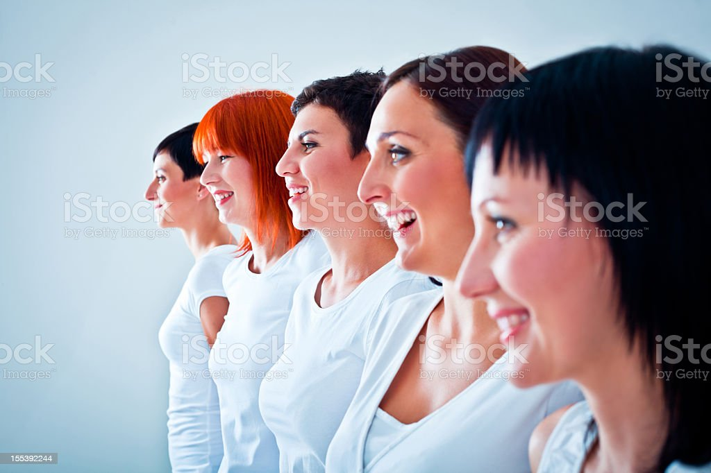 Woman in a row  Adult Stock Photo