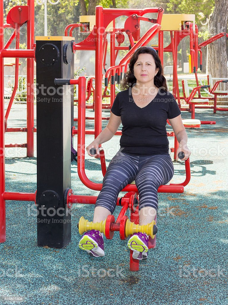 Woman in a sports simulator training stock photo