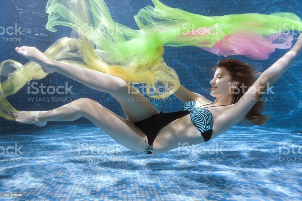 Woman in a swimsuit underwater. stock photo