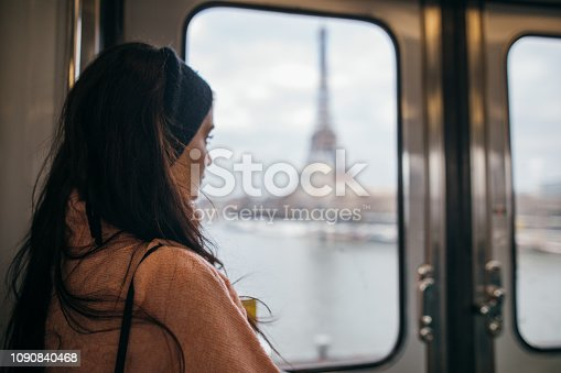 Woman in a train of Parisian underground