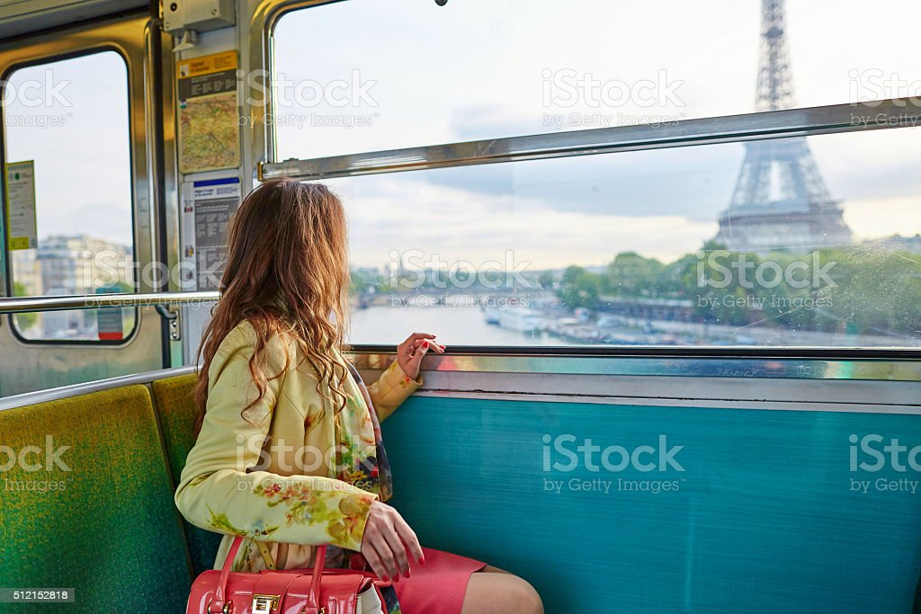 Woman in a train of Parisian underground stock photo