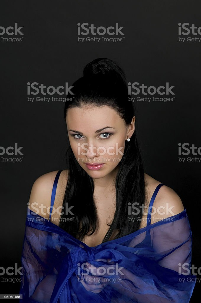 Woman in a transparent silk royalty-free stock photo