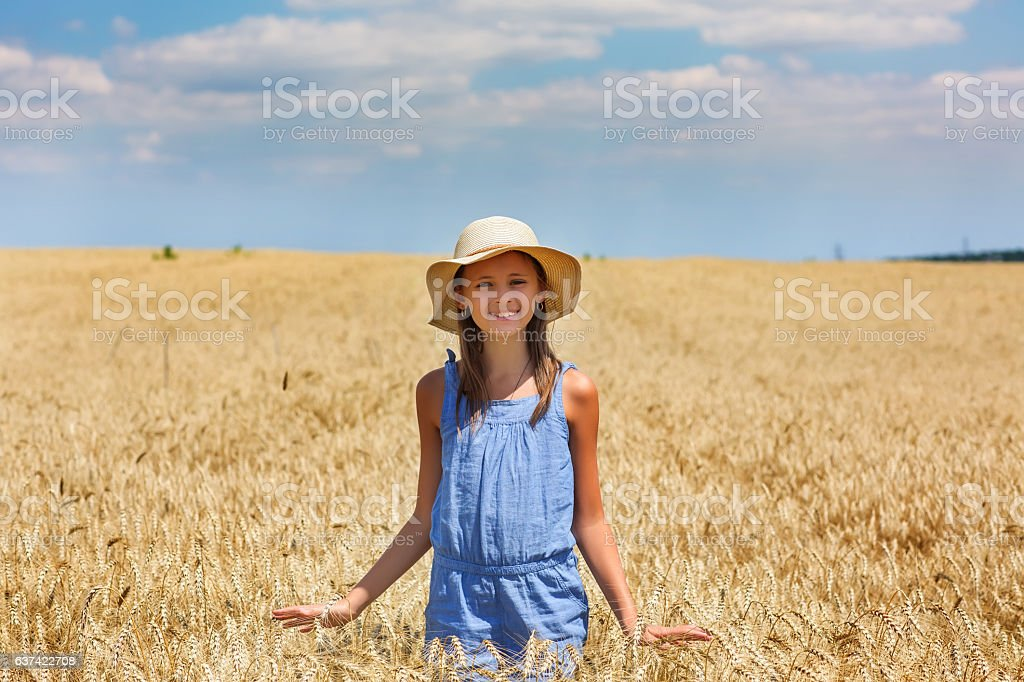 Woman in a wheat field on the background stock photo