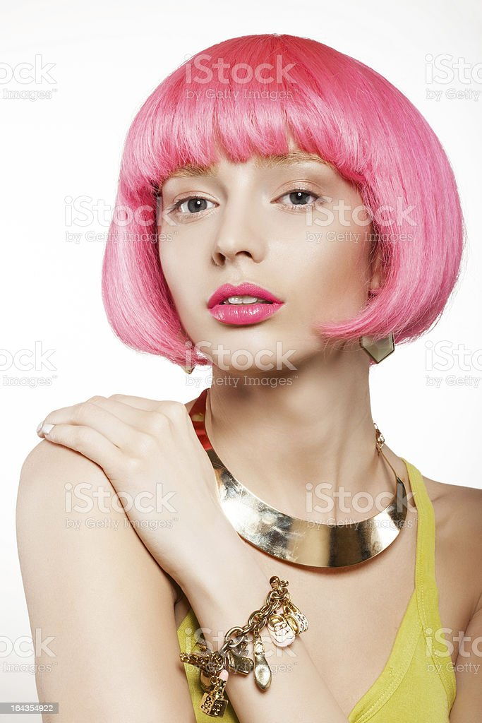 woman in a wig royalty-free stock photo