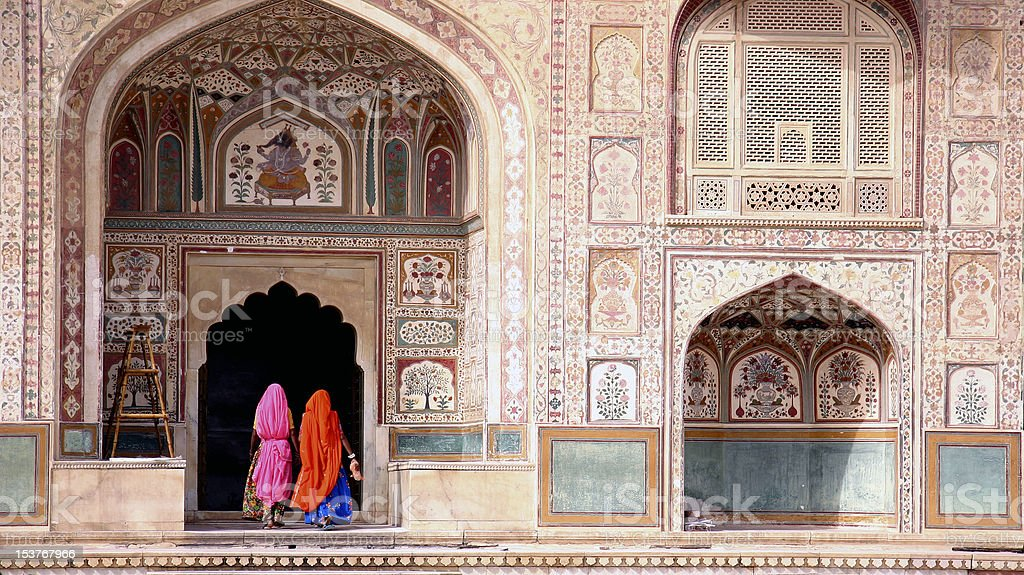 Woman in Amber fort royalty-free stock photo