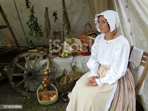Moscow, Russia - August 2018: Vivandiere of the French army of Napoleon during the Moscow historical festival Times and Epochs