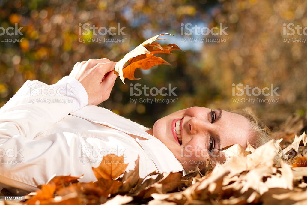 woman in autumn forest royalty-free stock photo