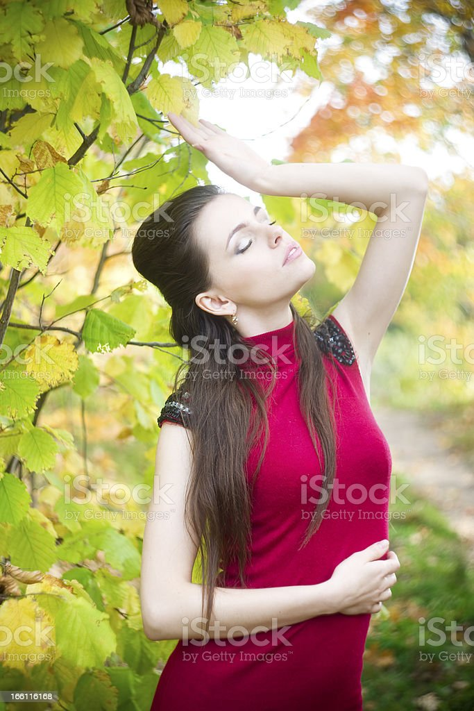 Woman in autumnal park royalty-free stock photo