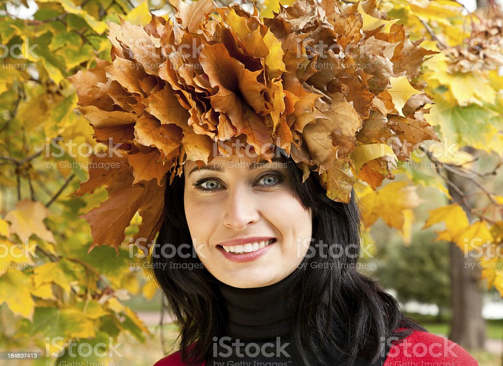 Woman in autumnal park stock photo